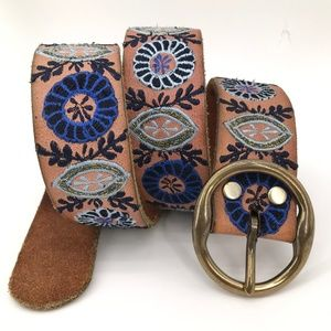Lucky Brand Tan Leather Boho Embroidered Belt